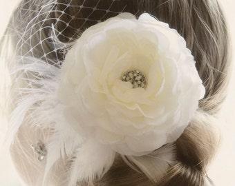 Vintage Wedding Ivory Flower Hair Piece, Weddings OR White Fascinator head piece, Bridal Hair Flower Clip,  Wedding Accessories Hair Piece