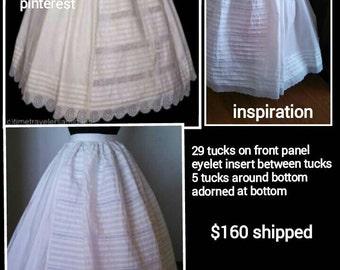 Fancy tucked petticoat for under wrapper