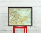 Vintage map of Boston - Old  city map - Map of Boston giclee print