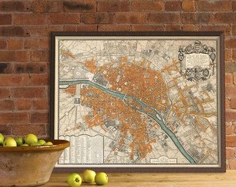 Paris map - Old map restored - Plan de Paris - Wall map fine art print - Paris  large  wall map