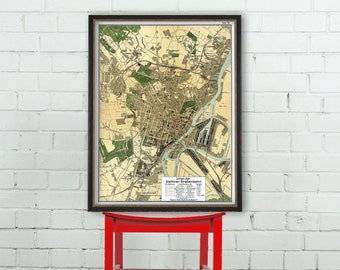 Stettin map - Old map of Szczecin  print - Fine reproduction of a vintage map