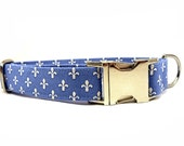 Dog Collar, Fleur de Lis in BLUE, Fleur de Lis in RED, Handmade Dog Collar