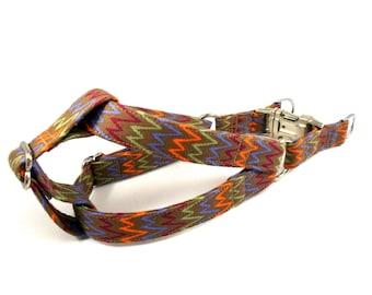 Dog Harness, CHEVRON in BROWN, Handmade Dog Harness, Dog Step in Harness, Step in Dog Harness