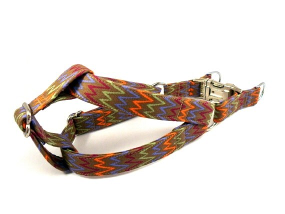 Chevron in Brown Dog Step in Harness