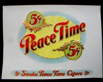 Peace Time cigar box label 1910 era