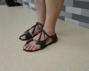 100% Handmade Knitted Causual Cloth Khaki Sandals Sandals Comfortable CSA001