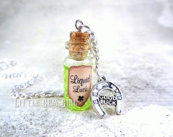 Liquid Luck Glass Bottle Necklace - Good Luck Charm - Magic Potion Vial - Going Away Gift - Graduation Gift - St Patrick's Day Luck Jewelry