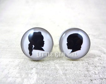 Custom Photo Silhouette Cuff Links - Child Profile Picture Personalized Photo Cufflinks Father of the Bride - Sterling Silver and Stainless