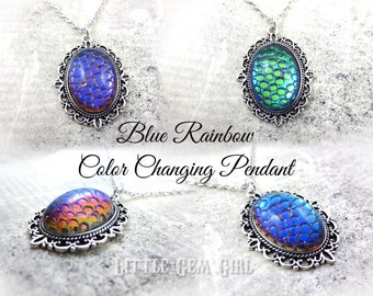 blue helio snakeskin necklace silver gothic victorian dragon egg necklace color changing thousand eyes