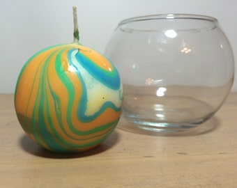 Large Round Blue Green Orange and White Marbled Candle