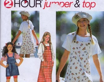 Simplicity 9534 Girls' Jumper and Top Pattern, UNCUT, Size 12-14, Two Hour Pattern, Pullover Top, Jumper in Three Lengths, 1996