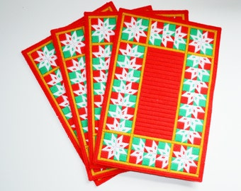 Vintage Crocheted Placemats Hand Made Christmas Placemats Red Green and White Placemats Set of 4 Holiday Snowflake Placemats