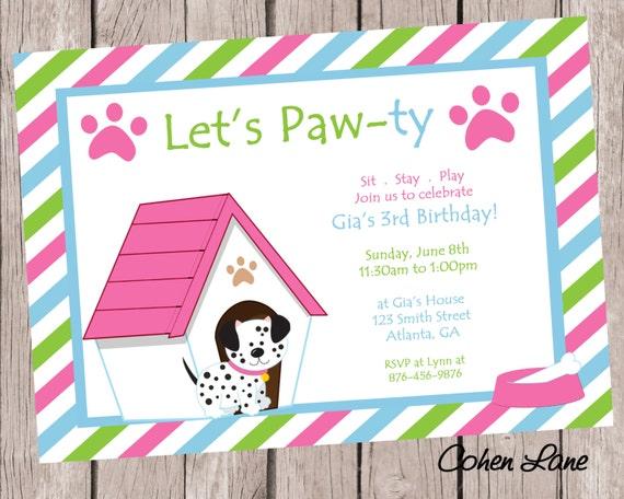 Puppy Birthday Party Invitation Dog Party Invite Puppy