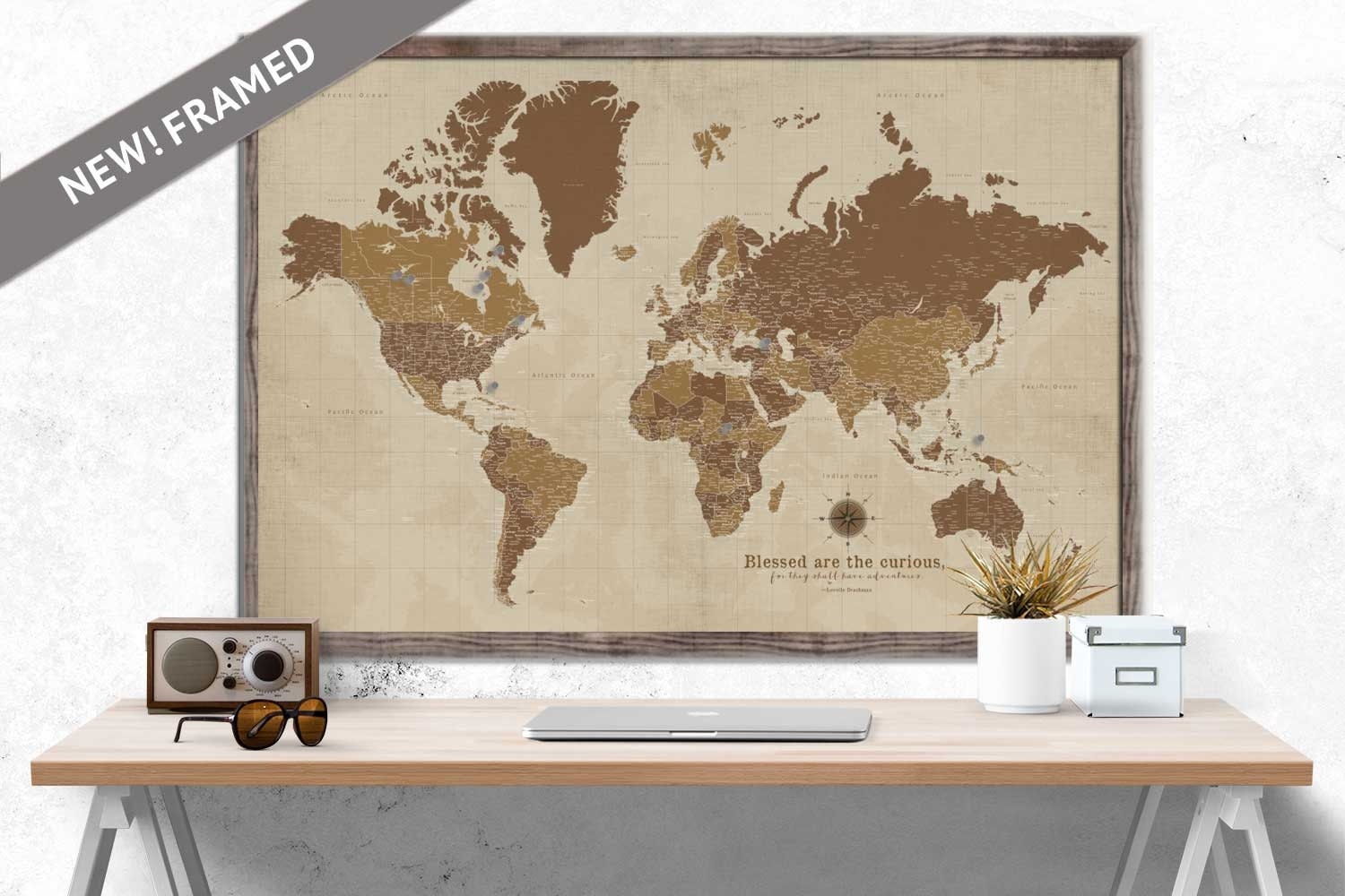 World Map Home Decor Custom World Map Large Map Sepia Framed Push Pin Map