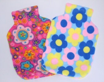Polar Fleece Hot Water Bottle Cover - Bright Pink with Large Flower Print or Pale Blue with Daisy Print, Cozy Cover