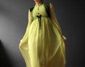 Chartreuse Midori Green Folk Dress Maxi Velvet Chiffon Empire Line Boho Ethnic Dress