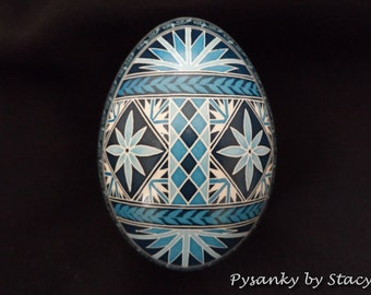 Pysanky Goose Blue and White Starburst and Daisies