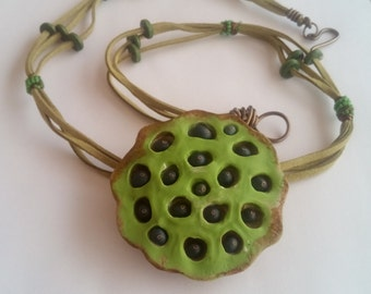 Handsculpted Lotus pod necklace
