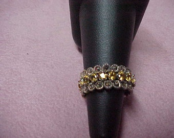 Vintage Citrine and Marcasite Eternity Ring, Sterling Silver, 1.50 CTW, Size 7