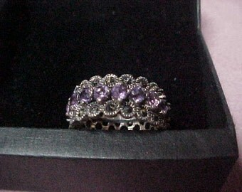 Vintage Amethyst and Marcasite Eternity Band. Sterling Silver, Sizes 6 and 7