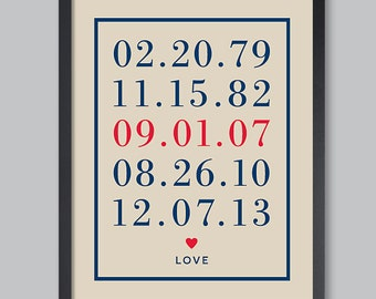 Valentines Day Gift for HIm Custom Date Art Print Important Date Art Personalized Anniversary Gift