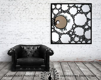 Canvas art Swarovski® crystals. Canvas painting. Large canvas art. Black and white canvas art. Acrylic painting canvas art custom canvas art