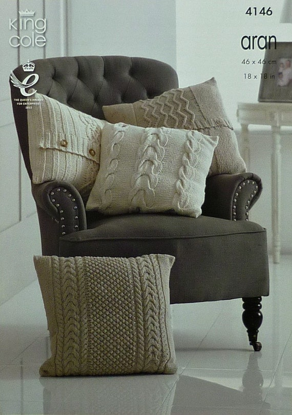 Cushions Knitting Pattern K4146 4 Styles of Textured and Cable
