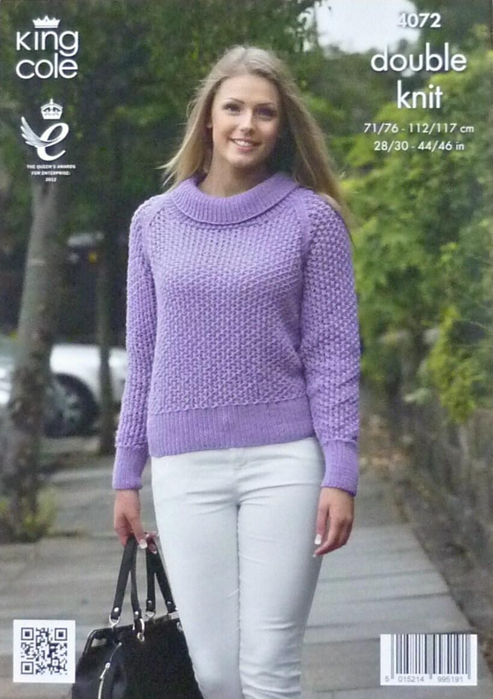 Womens Knitting Pattern K4072 Ladies Long Sleeve Roll Collar Lacy Jumper Knit...