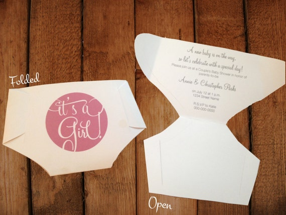 folded diaper invitation templates with instructions