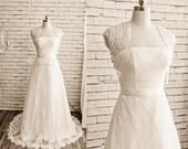 Lace Wedding Dress, Bolero Jacket, Bridal Dress, Bridal Jacket, Lace Fabric Dress, Satin Long Dress, Simple Wedding Dress