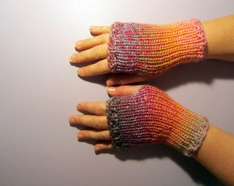 Fingerless Gloves - Pink, Purple, Green, Orange Mix Hand Knit Fingerless Gloves