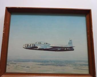 Vintage Airplane Photo Framed Art 1970s