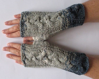Fingerless Gloves Mittens wrist warmers Blue Gray Dove knit