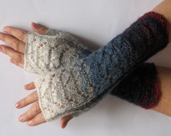 Fingerless Gloves Blue Gray Off White Burgundy wrist warmers