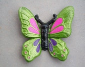Cast Iron Butterfly / Monarch Butterfly / Home Decor / Garden Decor / Green / Purple / Pink