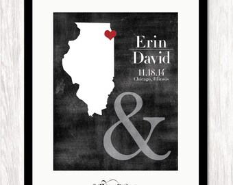 Personalized Wedding Gift, Any State Map Print, Bride & Groom Names, Wedding Date ,City State Location,Custom Wedding Gift, Choose Colors