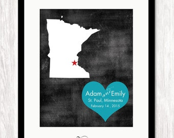 Custom Wedding Gift, Personalized State Map & Heart Art Print, Wedding Gift, Anniversary Gift,  ALL STATES AVAILABLE, Choice of Colors