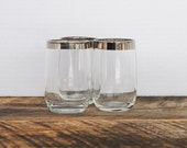 Vintage Silver Rimmed Glasses Juice or Water Set of 3 - 5 ounce
