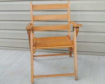 Vintage Childs Wood Slat Chair with Arm Rests Folding Flat for Storage