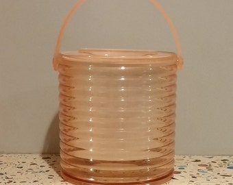 Retro Mod Pink Ice Bucket Vintage Bar Patio Accessory