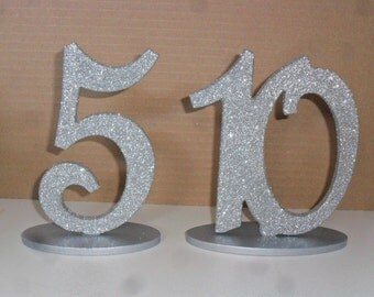 "Silver or Gold Glitter Wood Table Numbers set 1-12 MDF 6"" number with 1/4"" base"