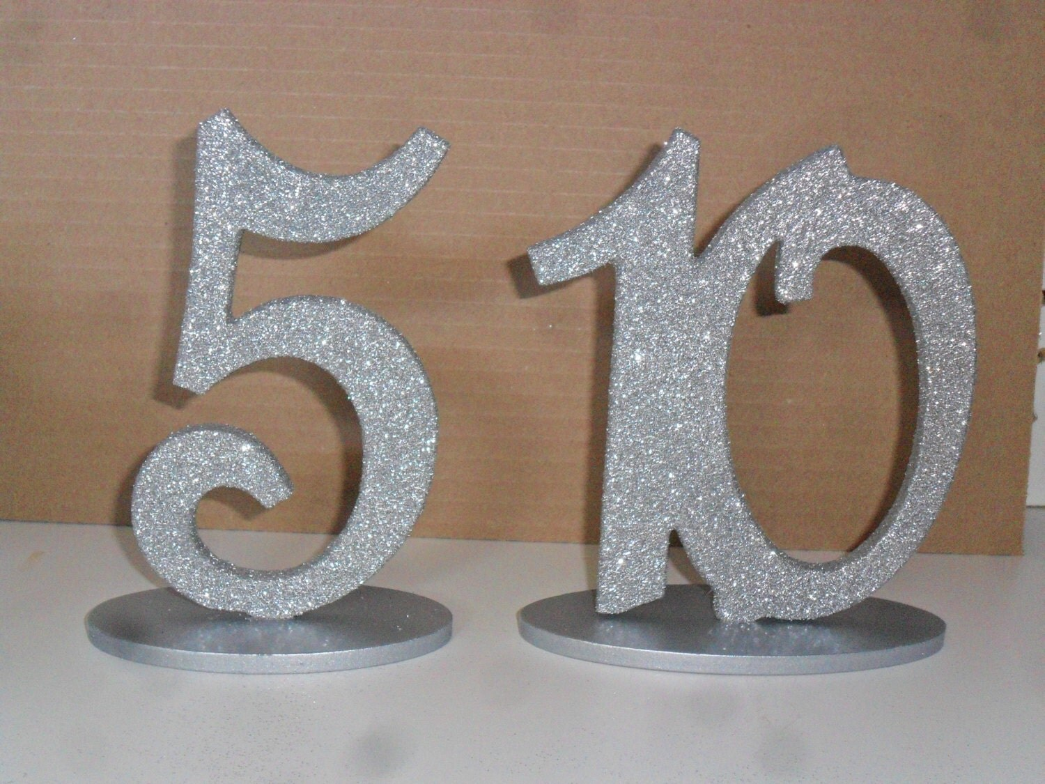Silver or gold glitter wood table numbers set 1 12 mdf 6 for Table numbers