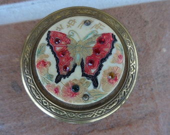 vintage women's compact butterfly rhinestones celluloid 1930-40's vanity art deco asian