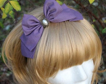 Lavender Hair Bow with Pearl Cabochon - Headband OR Alligator Clip - Handmade
