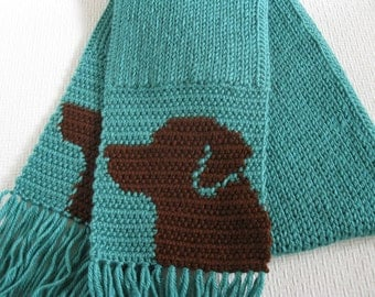 Chocolate Labrador Retriever Scarf.  Aqua knit scarf with brown labs. Labrador dog