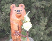 chainsaw bear  carving  holding flowers unique  home decor