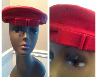 Vintage Red Leather Beret