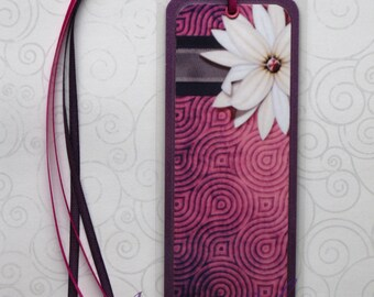 Handmade Laminated Durable Bookmark Flower design6 or gift set with button, magnet, mirror or keyring