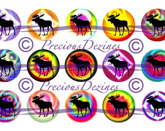 Moose collage sheet for making epoxy cabs, DIY jewelry, pendants, magnets, pinback buttons, etc, 4x6 download,  bottle cap images