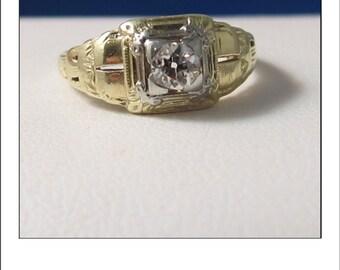 Fine Vintage 14k  .30 Ct. VS Old Mine Cut Diamond Engagement Ring